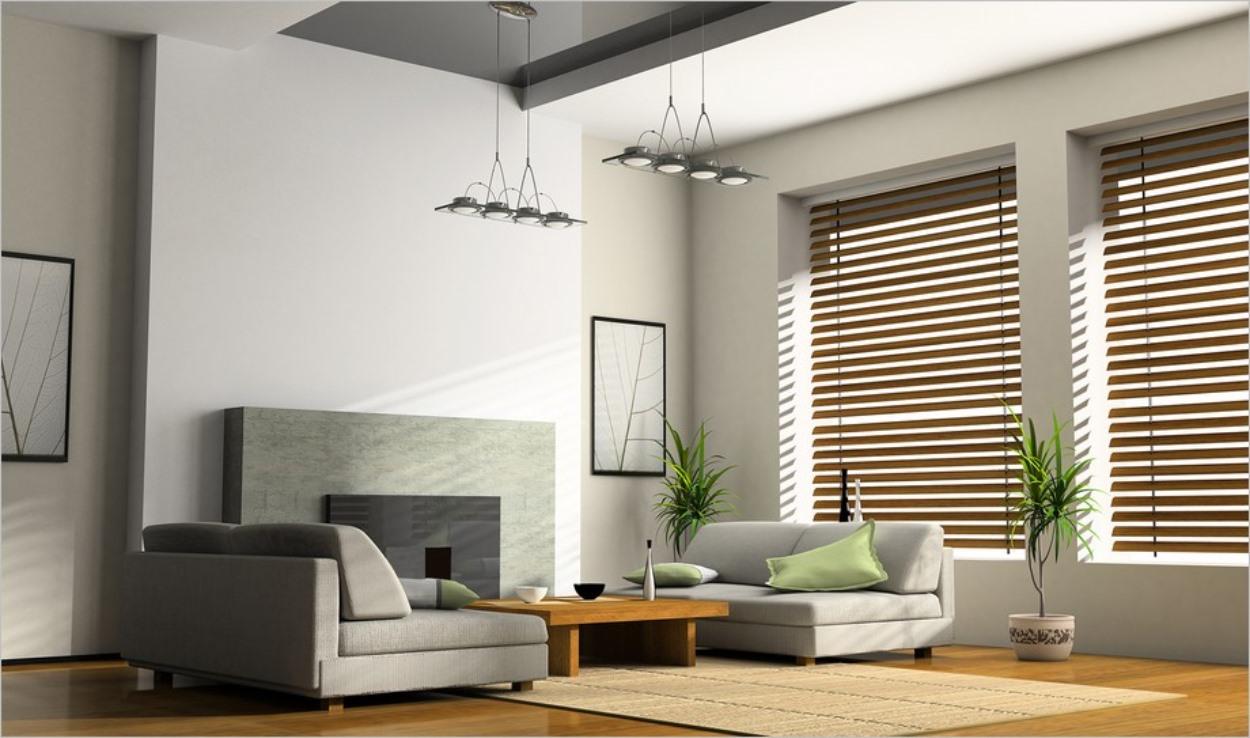 Stores en bois dans un salon
