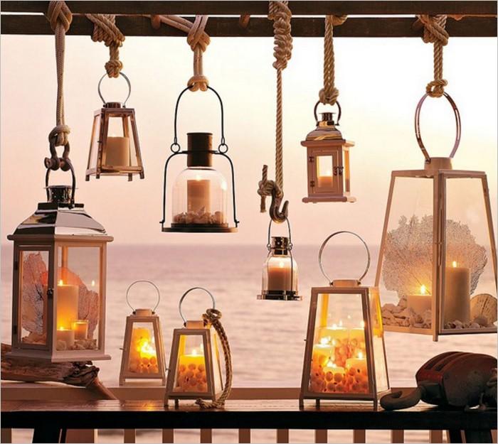 Une échelle pour suspendre des lanternes avec créativité
